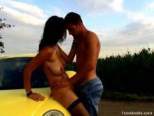 Berta and Kamil fuck on a car passionately