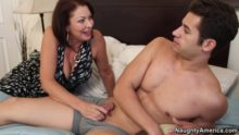 Mature woman seduces a young guy