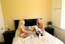 Two Blonde Lesbian Stockings Lick