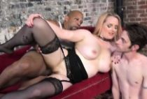 Wife in Stockings rides black dick
