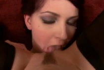 Anon chick in black stockings gets her pussy licked by purple haired gal