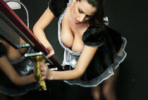 MILF housemaid Sensual Jane works with her giant boobs on a fresh cock