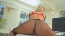 Slut in fish net stockings gets cum in each hole