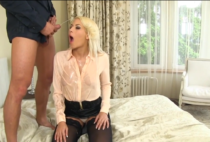 Hot blonde pissing on man after hard fucking