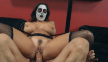 Ava Addams wearing mexican face mask and having rough sex in stockings