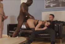 Simony Diamond enjoys double penetration in group hardcore video