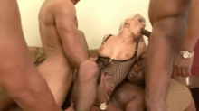 Sexy blonde Blanche Bradburry double penetration in gangbang with four black guys