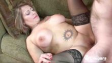 Sexy big boobs tattooed MILF sex in stockings
