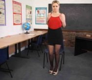 Sexy blonde teacher Anna Belle striptease