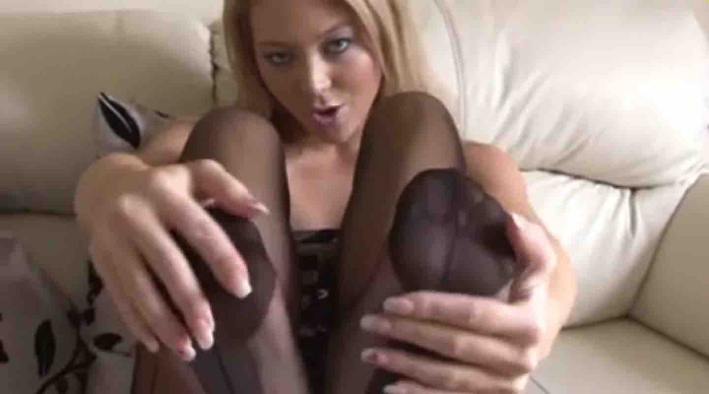 Blonde foot goddess in stockings