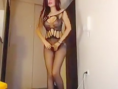 Fake boobs slut anal fisting on webcam