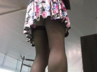 A girl showing her extraordinary stockings in public