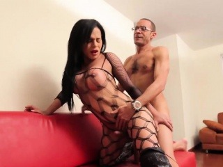 Latina shemale tugs her cock while assfucked