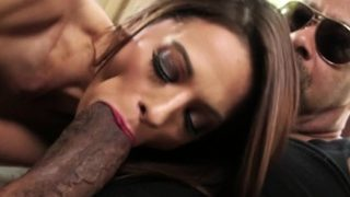 Tiny slut takes huge black cock in her mouth