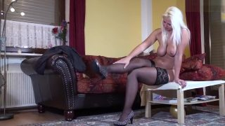 Hot Blonde in stockings fisting session
