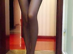 Chinese amateur in shower wearing stockings