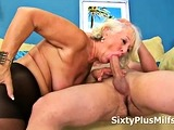 Mature Lady in Pantyhose Gets Fucked by a Young Cock