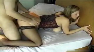Sexy Babe in stockings hot blowjob and sex