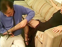 Asian girl foot fetish and cumshot in stockings