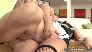 Brunette maid gets fucked and full mouth with cum