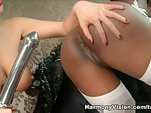 Horny lesbians Jasmine Webb & Rebecca More using sex machines